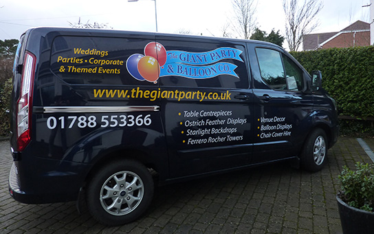 Giant Party and Balloons delivery van