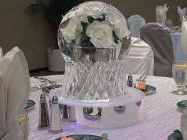 Globe with White Roses Ice Sculpture