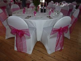 chair covers hot pink sashes