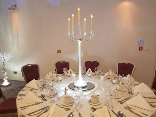 5 ARM CRYSTAL CANDELABRAS