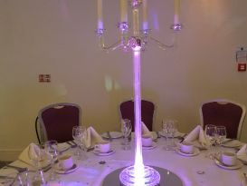 crystal candleabra purple