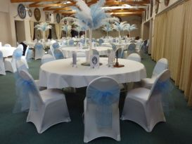sky blue and  white event